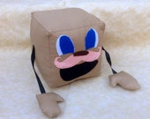 """Limited Quantity,Tiny Box Tim Plushie!  Pink Warfstache, Mustache, Plush Toy. 5.5"""" cube, Pillow. Markiplier Youtube"""