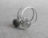 Storm Gray Hoops, Small Oxidized Hoops Gray, Lampwork Earrings Gray, Gray Glass Earrings, Wire Earrings, Wire Jewelry, Sterling Silver Hoops