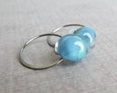 Ocean Blue Earrings, Small Hoop Earrings, Blue Lampwork Glass Earrings, Oxidized Silver Everyday Earrings, Sterling Silver Wire Earrings