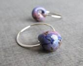 Wisteria Hoop Earrings, Small Silver Hoops, Mottled Purple Earrings, Purple Hoops Silver Wire, Lampwork Earrings Purple, Sterling Silver
