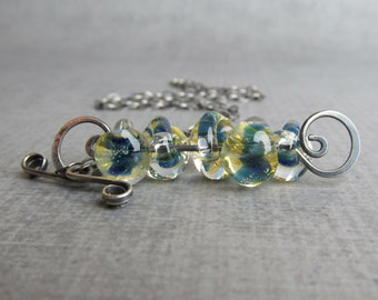 Yellow and Blue Necklace, Lampwork Necklace, Teardrop Necklace, Convertible Necklace, Oxidized Sterling Necklace