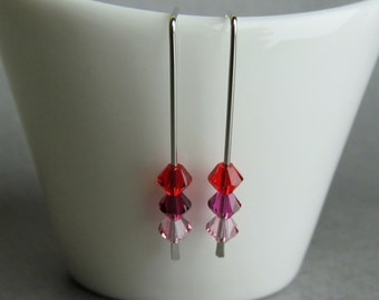 Red Pink Crystal Earrings, Small Minimalist Earrings, Minimalist Dangles, Ombre Red Earrings, Small Silver Earrings Pink Red, Pink Earrings