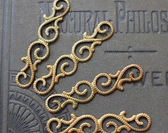 Oxidized Brass Filigree Findings - Small Earring Filigrees