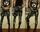 Kissin' Bombs stained fauxleather pants