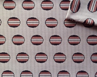 Vintage Fabric 60's Polyester, Brown, White, Large Polka Dot, Printed, Material, Mod