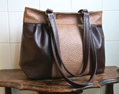 Zinnia Zippered Shoulder Bag in  Pebbled Medium Brown and Chocolate Brown Vegan Leather