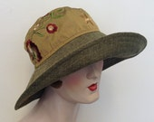 Sample SALE. Natalie sun hat, faux linen and embroidery, wedding, garden party, travel sun hat. Free shipping in the US, OOAK