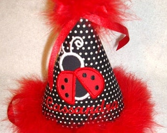 Personalized Ladybug Polka Dot Girl's Birthday Hat embroidered applique cute lady bug and child's name.