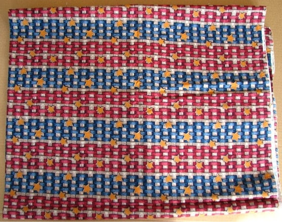 Basket Weaving Star Pattern : Cotton material fabric gold stars on red blue brown