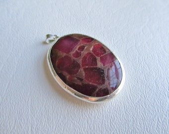 Red Quartz and Goldstone Smooth Polished Oval Silver Plated Focal Pendant