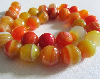Yellow Orange Citrus Mix Banded Agate Faceted Rounds Half Strand