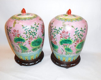 Vintage Pair of Chinoiserie Chinese Asian    Ginger Jars Palm Beach Flower Butterfly Bird  Motif Pink Green Aqua Yellow