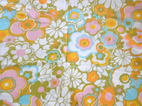 Orange Flat Sheet Twin Vintage Flat Bed Sheet Twin