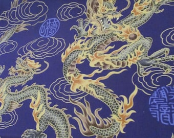 Marianne of Maui Hawaiian Quilting Fabric Golden Dragons on Royal Purple. Bolt