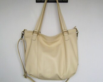 Leather tote bag - CACHE - made to order