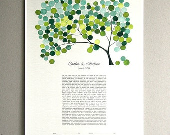 Modern Ketubah Spring Tree of Life - Abstract Ketubah Design Chuppah canopy - Watercolor design print by Elena Berlo