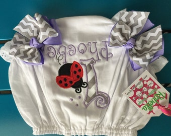 Ladybug Monogrammed ,personalized diaper cover bloomers