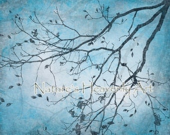 Aqua Blue Wall Decor, Tree Wall Art, Blue Home Decor, Nature Art Print, Turqouise Blue Wall Art, Tree Blowing Leaves (260)