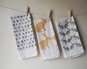 Tea Towel, Hand Printed, Woodland Prints, 3 Natural Cotton Towels