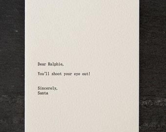 dear ralphie. holiday. letterpress card. #269