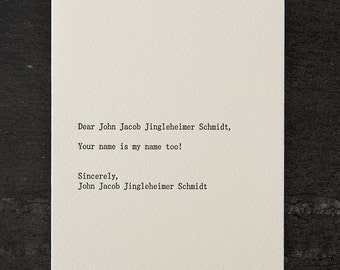 john/john. letterpress card. #252