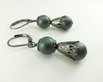 Dark Gray Earrings Gunmetal Dark Silver Dangle Earrings Beaded Gray Earrings Drop Earrings
