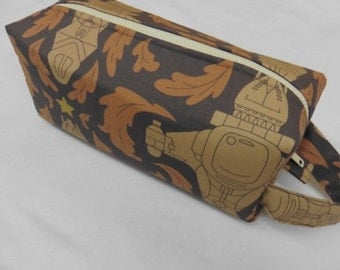Damask Elegant Firefly Spaceship Inspired bag with surprise embroidery inside - Cosmetic Bag Makeup Bag LARGE
