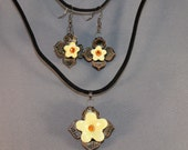 Yellow Flower Pendant and Earrings