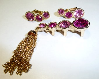 Vintage Sarah Coventry Saucy Hot Pink Tasseled Pin Brooch and Earrings Set on Etsy by Apurplepalm