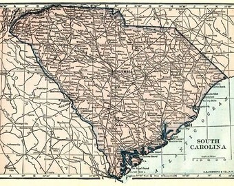 Map of the state of South Carolina.  Printable digital download of vintage map from the 1920s, in pastel pinks and blues.