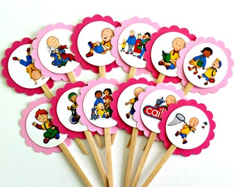 Pink Caillou Cupcake Toppers . Caillou Birthday Toppers . Caillou Birthday Party . Caillou Decorations . Set of 12