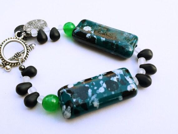 Green Stone Bracelet, Boho Stone Bracelet, Green Stone Jewelry, May Stone Bracelet, boho bracelet