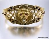 Victorian Brass Lion's Head Cuff Bracelet