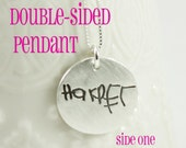 Double sided Handwriting Necklace - Artwork Necklace - Fine Silver using Actual Hand Writing or Signature - Memorial Jewelry - Remembrance