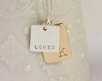 Gift for Her - Initial Jewelry - Mixed Metals Necklace - Gold Filled and Silver Jewelry - tagyoureitjewelry - loved necklace - gift for wife