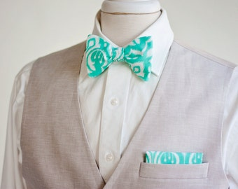 Bow Tie, Bow Ties, Freestyle Bow Ties, Bowties, Groomsmen, Groomsmen Gifts, Ties, Bowties, Bow Ties For Men, Mens Bow Ties - Mint Ikat