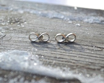 Sterling silver infinity post earrings, infinity stud earrings, infinity jewellery