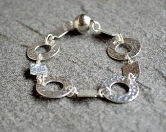 Sterling silver hammered link bracelet, sterling silver bracelet, sterling jewelry