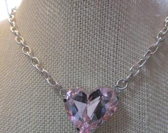 Swarovski Crysta Pinkl Heart Set in Silver
