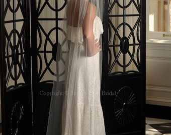 "Bridal Veil - IVORY Chapel Length Veil with Raw Cut Edge, 54"" Wide - READY to SHIP"
