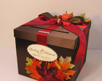Fall Wedding  Card Box Gift Card Box  Money Box Holder-Customize/made to order (10x10x9)