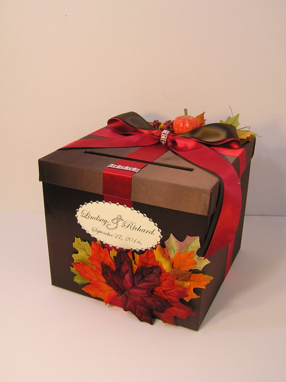 Fall Wedding Gift Card Box : Fall Wedding Card Box Gift Card Box Money Box Holder-Customize/made to ...