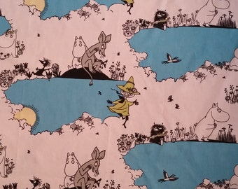 Moomin fabric POUTAMUUMI Summer Day white and blue really cute Moomins tillukka