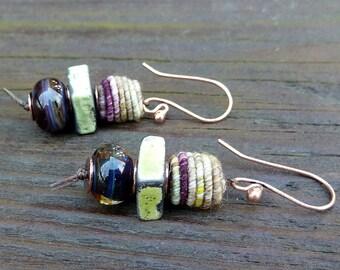 Purple Mixed Media Earrings - Coiled Fiber Beads, Handmade Ceramic Squares, Purple Lampwork Beads, Stacked Earrings