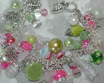 Christmas Charm Bracelet in Pinks, Blues, and Greens , Christmas Present Charm Bracelet , Pink and Blue Christmas