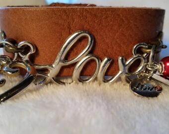 Love Leather Cuff Charm Bracelet ; Valentine's Day Leather Charm Bracelet , Statement Cuff , Leather Cuff Charm Bracelet