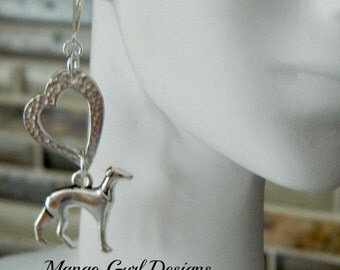 Greyhound Silver Hammered Heart Earrings, Greyhound Earrings, Greyhound Jewelry, Greyhound Hammered Silver, Greyhound gifts, Greyhound
