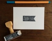 Pennant Flag Thank You Stamp - Wedding or Party Favor Stamp - Modern Simple Style