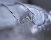 Name neclace, Initial neclace, Name jewelry, Initial charm, Initial necklace silver, SIlver plated, Word charm, Children necklace