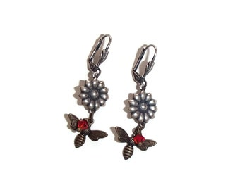 Bee and Flower Earrings. Mixed Metal Earrings. Lever Back Earrings. Nature Inspired. Insect